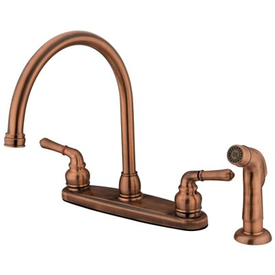 Magellan Two Handle Centerset Kitchen Faucet with Modern Lever Handles and Side Spray Finish: Antique Copper