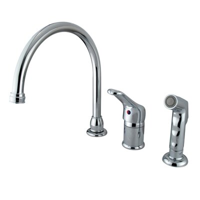 Wyndham Widespread Single Handle Kitchen Faucet with Side Spray Finish: Polished Chrome