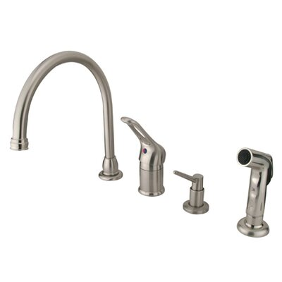 One Handle Widespread Kitchen Faucet with Loop Pull Out Handle and Soap Dispenser Finish: Satin Nickel