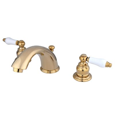 Magellan Widespread Bathroom Faucet with Double Porcelain Lever Handles Finish: Polished Brass