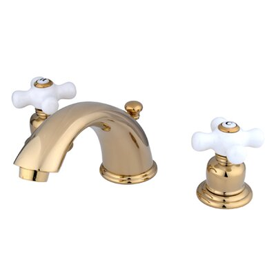 Magellan Widespread Bathroom Faucet with Double Porcelain Cross Handles Finish: Polished Brass