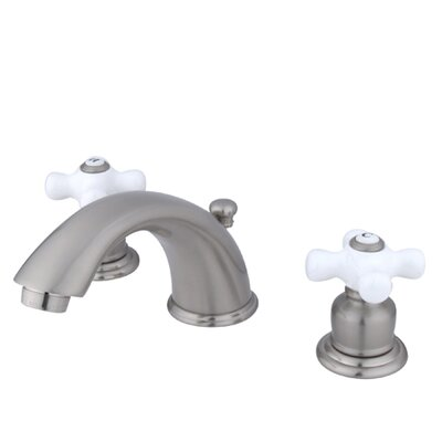 Magellan Widespread Bathroom Faucet with Double Porcelain Cross Handles Finish: Satin Nickel