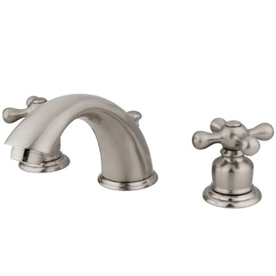 Widespread Bathroom Faucet with Double Metal Cross Handles Finish: Satin Nickel
