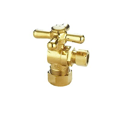 AQuarter Turn Valves with Cross Handles Finish: Polished Brass