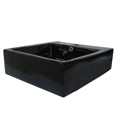 Commodore Square Vessel Bathroom Sink with Overflow Sink Finish: Black