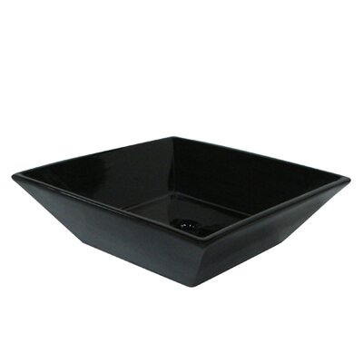 Artisan Ceramic Square Vessel Bathroom Sink Sink Finish: Black