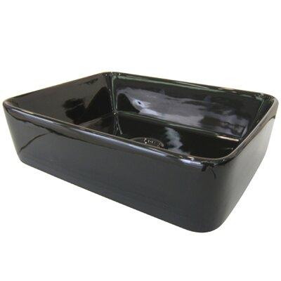 French Petite Ceramic Rectangular Vessel Bathroom Sink Sink Finish: Black