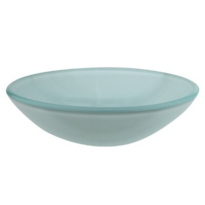 Temper Glass Circular Vessel Bathroom Sink Sink Finish: Light Green Frost