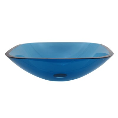 Temper Glass Square Vessel Bathroom Sink Sink Finish: Blue