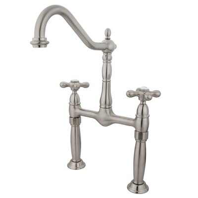 Victorian Widespread Vessel Sink Faucet with Double Cross Handles Finish: Satin Nickel