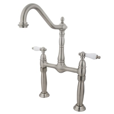 Victorian Widespread Double Handle Bathroom Faucet Finish: Satin Nickel
