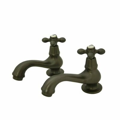 Vintage Widespread Bathroom Sink Faucet Set with Metal Cross Handles Finish: Oil Rubbed Bronze