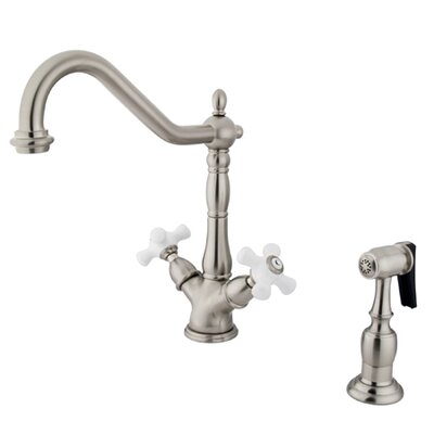 Heritage Deck Mount Double Handle Single Hole Kitchen Faucet with Porcelain Cross Handles Finish: Satin Nickel