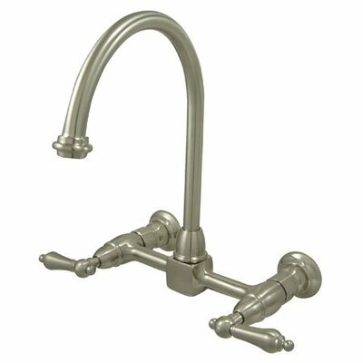 Heritage Double Handle Wall Mount Bridge Kitchen Faucet with Metal Lever Handles Finish: Satin Nickel