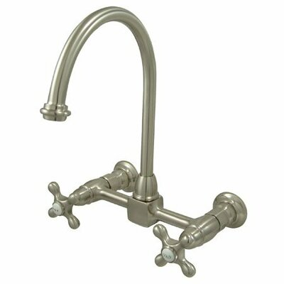 Heritage Double Handle Wall Mount Bridge Kitchen Faucet with Metal Cross Handle Finish: Satin Nickel