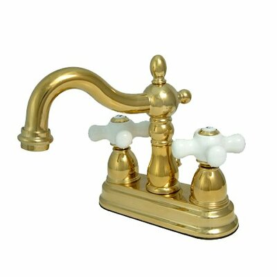 Centerset Bathroom Faucet with Double Porcelain Cross Handles Finish: Polished Brass/Pvd