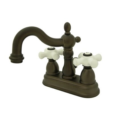 Centerset Bathroom Faucet with Double Porcelain Cross Handles Finish: Oil Rubbed Bronze