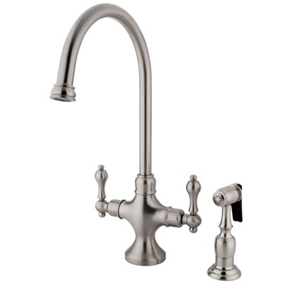 Classic Double Handle Single Hole Kitchen Faucet with Metal Lever Handles and Brass Side Spray Finish: Satin Nickel