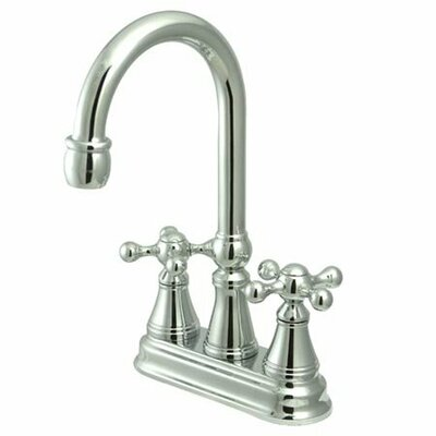 Madison Centerset Bar Faucet with Knight Cross Handles Finish: Polished Chrome