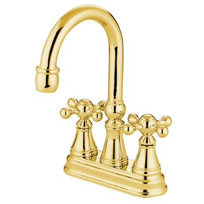 Madison Centerset Bar Faucet with Knight Cross Handles Finish: Polished Brass