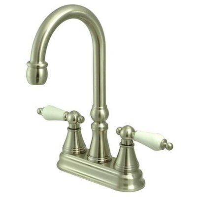 Madison Centerset Bar Faucet with Porcelain Lever Handles Finish: Satin Nickel