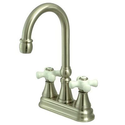 Madison Centerset Bar Faucet with Porcelain Cross Handles Finish: Satin Nickel
