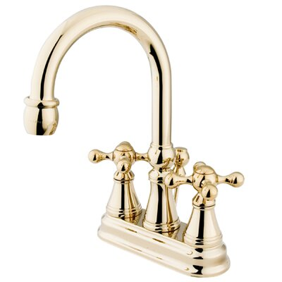 Madison Centerset Bathroom Faucet with Double Cross Handles Finish: Polished Brass