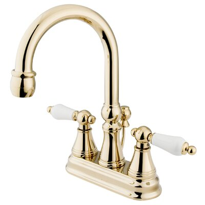 Madison Centerset Bathroom Faucet with Double Porcelain Lever Handles Finish: Polished Brass
