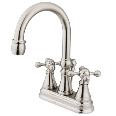 Madison Centerset Bathroom Faucet with Double Cross Handles Finish: Satin Nickel