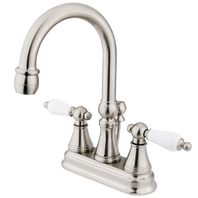 Madison Centerset Bathroom Faucet with Double Porcelain Lever Handles Finish: Satin Nickel