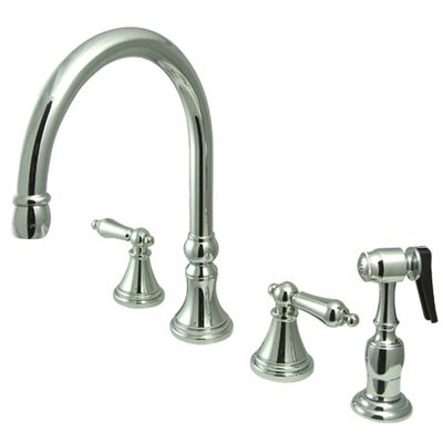 12 Deck Mount Double Handle Widespread Kitchen Faucet with Metal Cross Handle Finish: Chrome