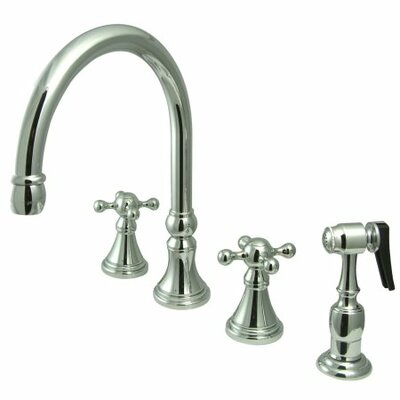 Deck Mount Double Handle Widespread Kitchen Faucet with Knight Cross Handle Finish: Chrome