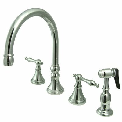 12 Deck Mount Double Handle Widespread Kitchen Faucet with Metal Lever Handle Finish: Chrome
