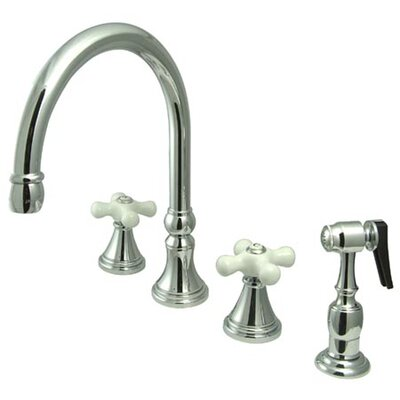 Deck Mount Double Handle Widespread Kitchen Faucet with Porcelain Cross Handle Finish: Chrome