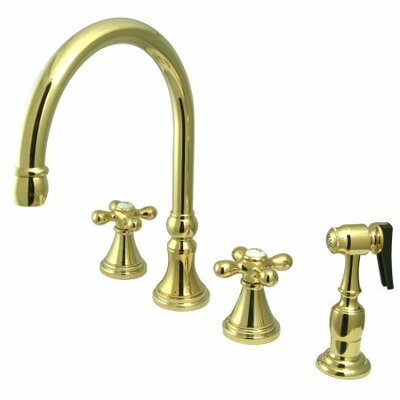 Deck Mount Two Handle Widespread Kitchen Faucet with Metal Cross Handle Finish: Polished Brass