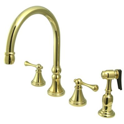 Deck Mount Double Handle Widespread Kitchen Faucet with Buckingham Lever Handle Finish: Polished Brass
