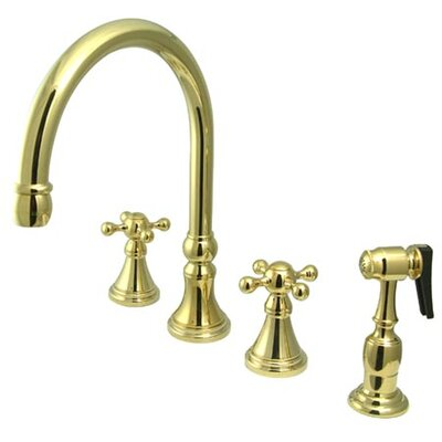 Deck Mount Double Handle Widespread Kitchen Faucet with Knight Cross Handle Finish: Polished Brass