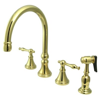 12 Deck Mount Double Handle Widespread Kitchen Faucet with Metal Lever Handle Finish: Polished Brass