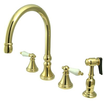 Deck Mount Double Handle Widespread Kitchen Faucet with Porcelain Lever Handle Finish: Polished Brass