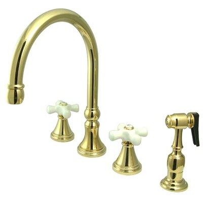 Deck Mount Double Handle Widespread Kitchen Faucet with Porcelain Cross Handle Finish: Polished Brass