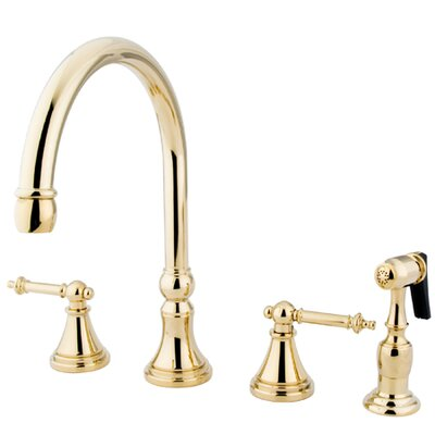 Deck Mount Double Handle Widespread Kitchen Faucet with Metal Lever Handle and Brass Sprayer Finish: Polished Brass