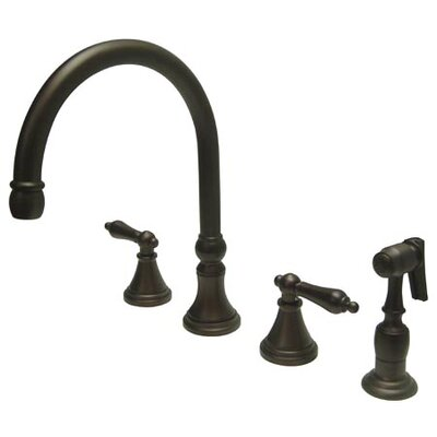 12 Deck Mount Double Handle Widespread Kitchen Faucet with Metal Cross Handle Finish: Oil Rubbed Bronze