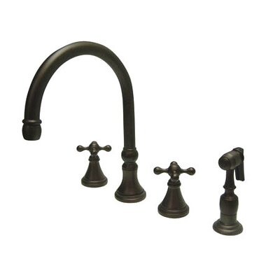 Deck Mount Double Handle Widespread Kitchen Faucet with Knight Cross Handle Finish: Oil Rubbed Bronze