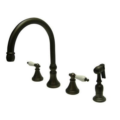 Deck Mount Double Handle Widespread Kitchen Faucet with Porcelain Lever Handle Finish: Oil Rubbed Bronze