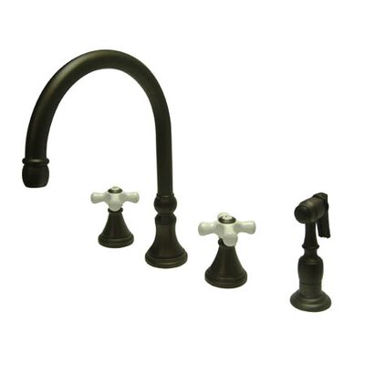 Deck Mount Double Handle Widespread Kitchen Faucet with Porcelain Cross Handle Finish: Oil Rubbed Bronze