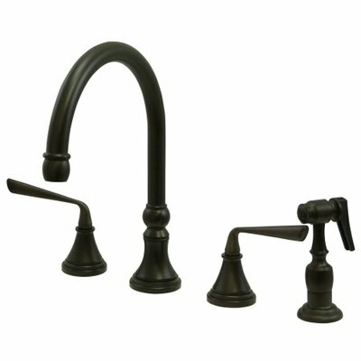 Copenhagen Double Handle Widespread Kitchen Faucet with Brass Sprayer Finish: Oil Rubbed Bronze