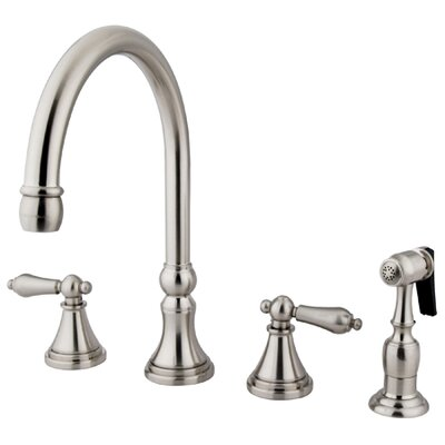 12 Deck Mount Double Handle Widespread Kitchen Faucet with Metal Cross Handle Finish: Satin Nickel
