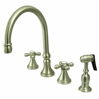 Deck Mount Two Handle Widespread Kitchen Faucet with Metal Cross Handle Finish: Satin Nickel
