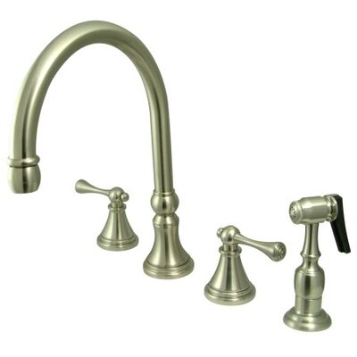 Deck Mount Double Handle Widespread Kitchen Faucet with Buckingham Lever Handle Finish: Satin Nickel