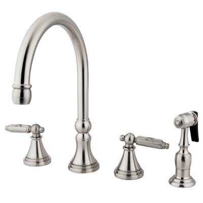 Deck Mount Double Handle Widespread Kitchen Faucet with Metal Cross Handle Finish: Satin Nickel